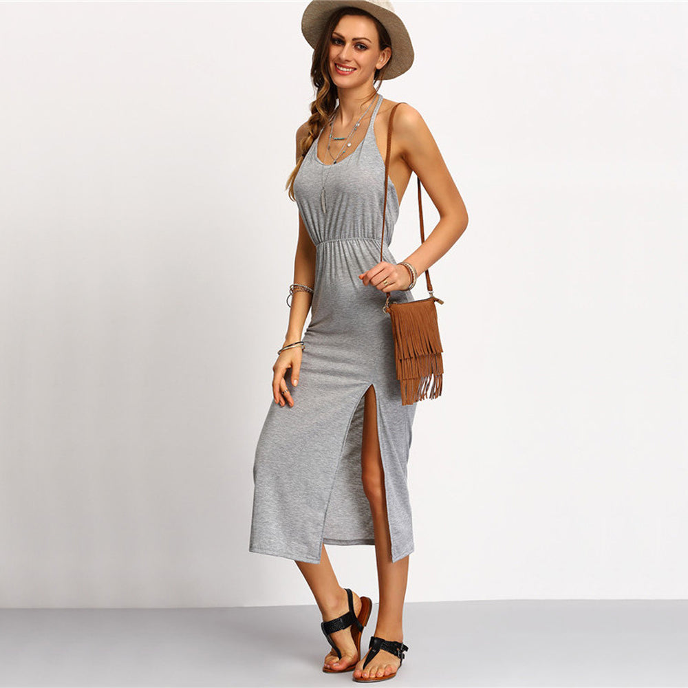 Boho Beach Summer Outfit Ideas for Women Bohemian Fashion Style - Modest Simple Midi Dress -  ideas simples del equipo del verano de la playa - www.GlamantiBeauty.com