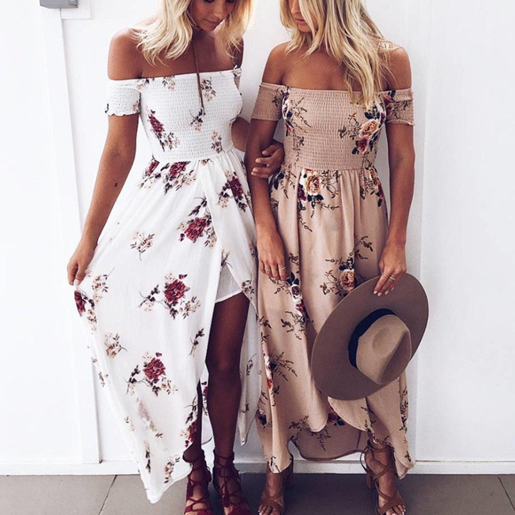 Ladies Summer Casual Cold Shoulder Vintage Beach Dress ❤Womens Floral Printed Maxi Dresses