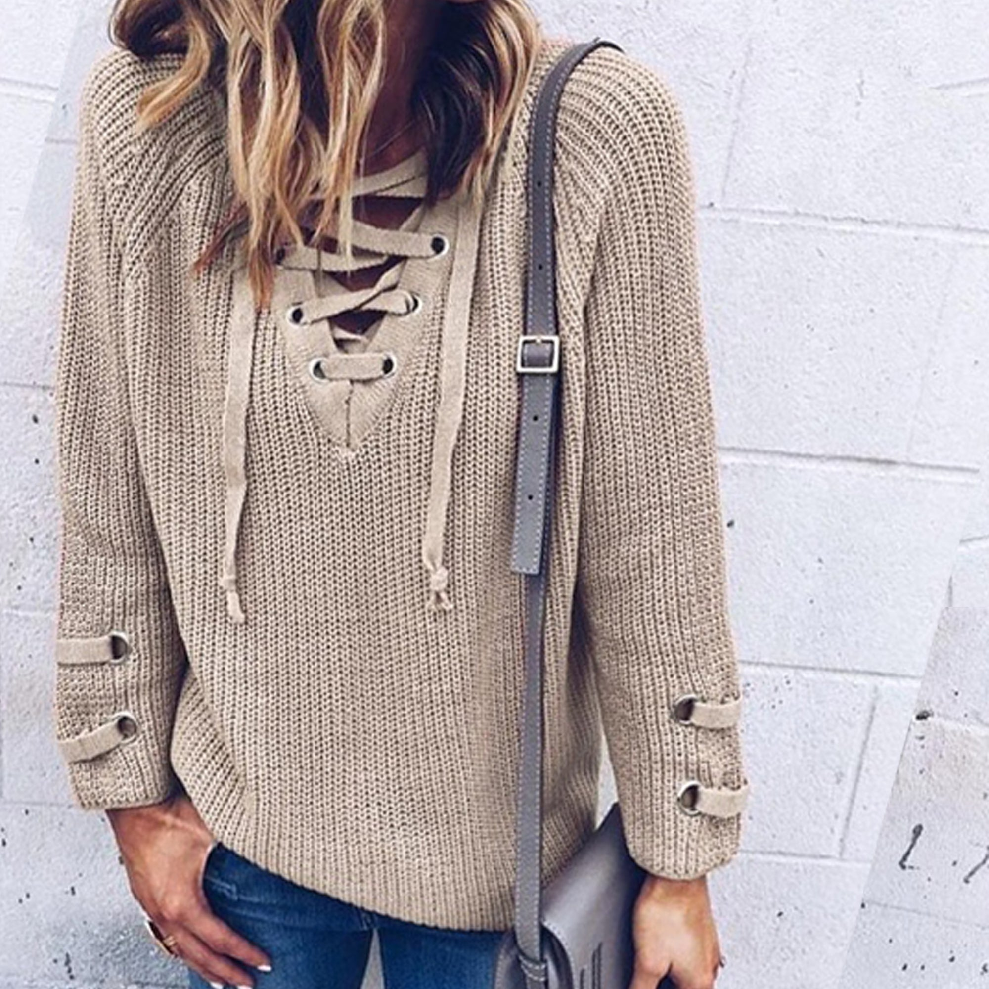 ... Cute Casual Spring Outfit Ideas for Teen Girls for School - Lace Up  Criss Cross Knitted ... a3e5911a8