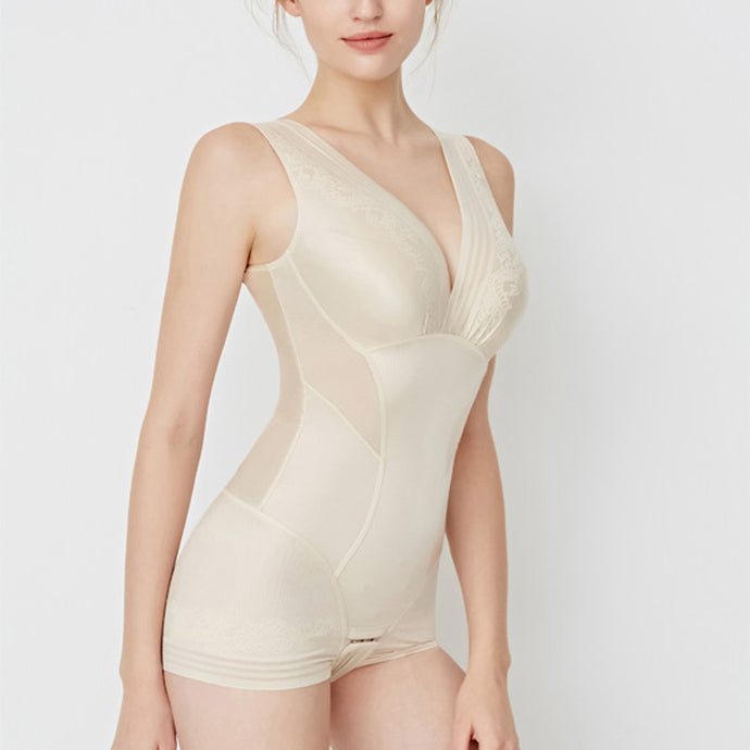 Ava Seamless Bodysuit Shorts One Piece Shapewear in Black or Nude