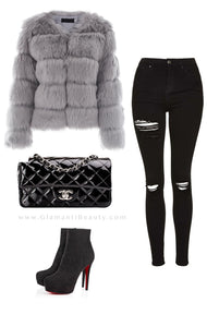 Chic Classy Winter Outfit Ideas for Women for Going Out Elegant Fur Bomber Jacket -  ideas elegantes del equipo para el invierno - www.GlamantiBeauty.com