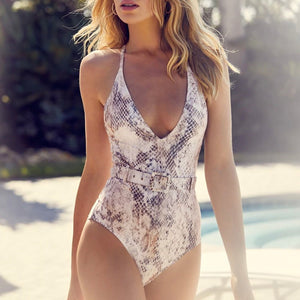 Cute Snakeskin Monokini Swimsuit Bathing Suit Swimwear Belted Fashion for Women for Teen Girls - www.GlamantiBeauty.com