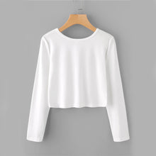 Cute Casual White Long Sleeve Crop Top - www.GlamantiBeauty.com