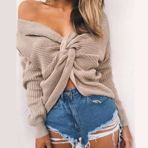 Cute Comfy Casual Fall Outfit Ideas for Women Twist Knot Sweater for Teens Girls - lindas ideas de trajes de otoño para mujeres - www.GlamantiBeauty.com
