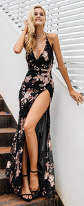 Formal Prom Dress Outfit Ideas for Teens for Graduation Spring Summer Long Chiffon Maxi Dress Black & Cream -  vestidos de fiesta ideas de atuendos para adolescentes - www.GlamantiBeauty.com
