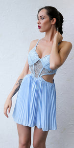 Cute Chic Summer Outfit Ideas for Teen Girls - Hot Dressy Fancy Floral Lace Bralette Corset Romper Pleated Skirt in Pink or Blue - ideas lindas del equipo del verano para las muchachas adolescentes - www.GlamantiBeauty.com #outfit #summer #romper