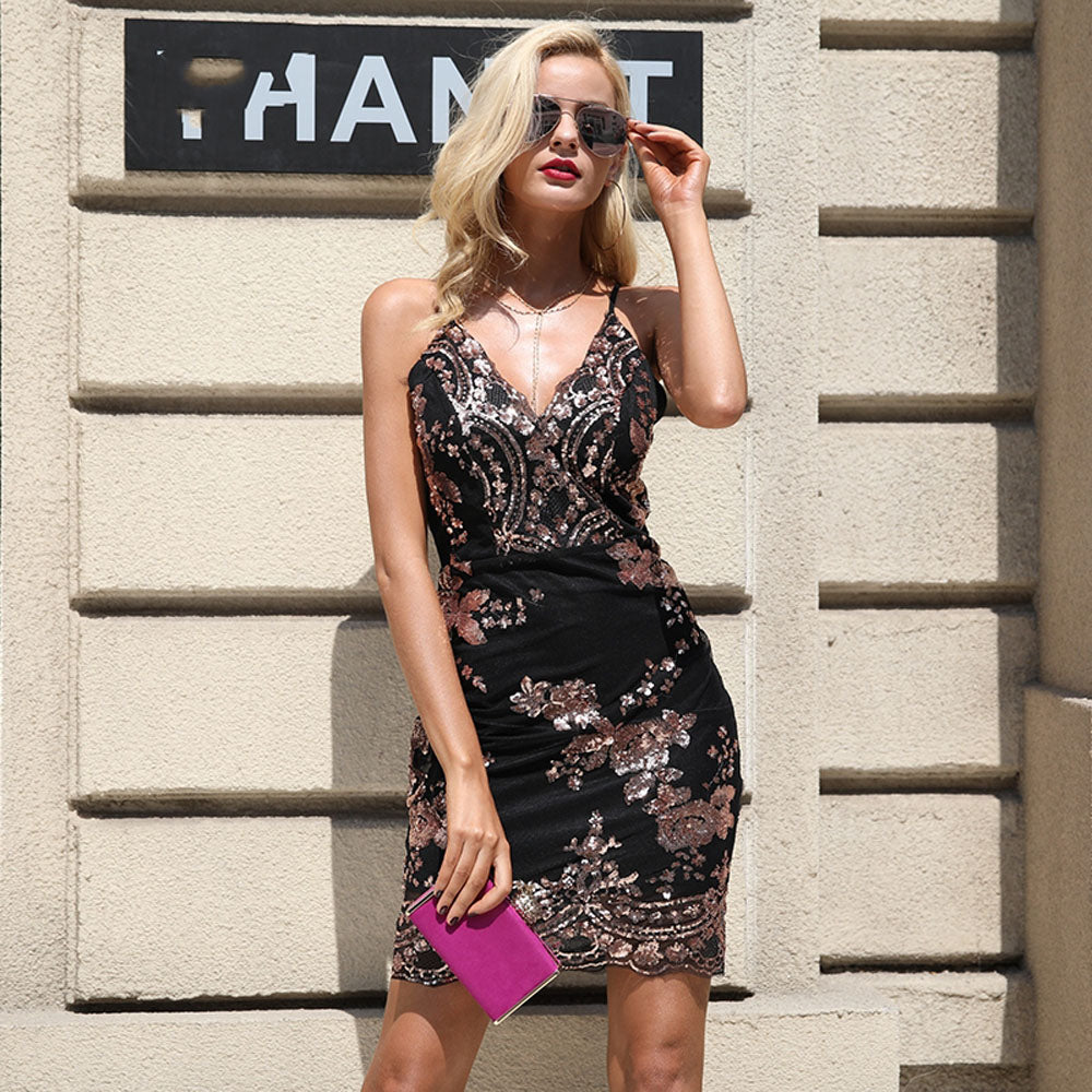 Ariana Floral Rose Gold Sequin Strappy Fitted Mini Dress Glamanti Beauty