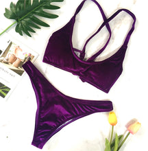 Sexy Velvet Two Piece Swimsuit Trendy Criss Cross Bikini Bathing Suit for Women for Teens Beach Outfit Ideas in Magenta Purple - www.GlamantiBeauty.com #swimwear