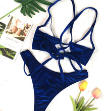 Sexy Velvet Two Piece Swimsuit Trendy Criss Cross Bikini Bathing Suit for Women for Teens Beach Outfit Ideas in Blue - www.GlamantiBeauty.com #swimwear