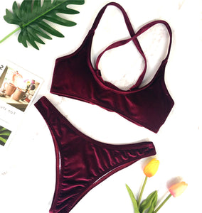 Sexy Velvet Two Piece Swimsuit Trendy Criss Cross Bikini Bathing Suit for Women for Teens Beach Outfit Ideas in Burgundy - www.GlamantiBeauty.com #swimwear