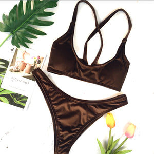 Sexy Velvet Two Piece Swimsuit Trendy Criss Cross Bikini Bathing Suit for Women for Teens Beach Outfit Ideas in Brown - www.GlamantiBeauty.com #swimwear