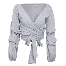 Bellisima Ruffled Long Sleeve Wrap Tie Crop Top in Grey, White, Brown or Blue - www.GlamantiBeauty.com