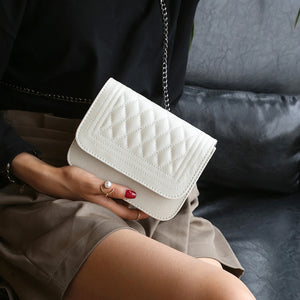 Elizabeth Designer Classy Crossbody Quilted Pleather Chain Flap Shoulder Purse Bag in White - www.GlamantiBeauty.com