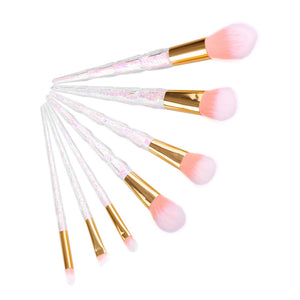 Holographic Pink Makeup Brush Set Coral Unicorn Mermaid Professional Eyeshadow Contour Face Brushes - www.GlamantiBeauty.com