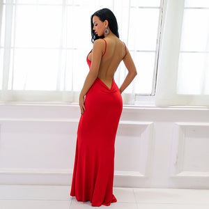 Hot Red Tight Long Prom Dresses - Low Cut Ruched Backless Deep V Neck Plunge Mermaid Gown Simple Maxi Dress for Graduation Homecoming Cocktail Evening Party  - Vestidos de baile largos ceñidos - www.GlamantiBeauty.com #promdresses