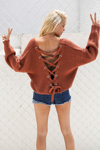 Summer Modest Casual Cute Outfit Ideas for Teen Girls for School 2018 College - Short Oversized Knitted Comfy Sweater Lace Up Criss Cross Open Back - www.GlamantiBeauty.com