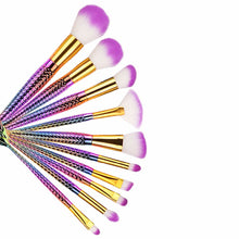 Ariel Mermaid Rainbow Professional Eyeshadow & Face Makeup Brush Set 10pcs - www.GlamantiBeauty.com