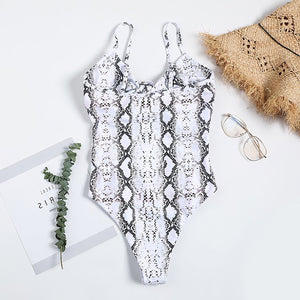 Cute Snakeskin Monokini Swimsuit Bathing Suit Swimwear Keyhole Bow Tie Knot for Teens for Women - www.GlamantiBeauty.com
