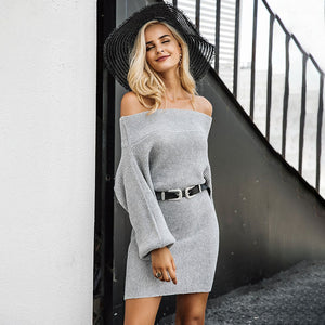 Casual Trendy Chic Dresses Outfit Ideas for Women - Classy Spring Off the Shoulder Sweater Grey Mini Dress - ideas de traje de primavera vestido casual con clase -  www.GlamantiBeauty.com