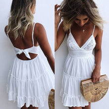 Cute Casual Mini Dresses Outfit Ideas for Summer 2018 for Teens Girls - Tie Up Keyhole Ruffle Short Dress in White, Black, Coral, Yellow - mini vestidos de verano lindos ideas de vestimenta para adolescentes - www.GlamantiBeauty.com #dresses