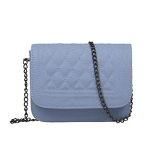 Elizabeth Designer Classy Crossbody Quilted Pleather Chain Flap Shoulder Purse Bag in Blue - www.GlamantiBeauty.com