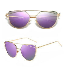 Cheap Designer Cateye Mirrored Lenses Oversized Sunglasses Reflective Mirror - 2018 Classic Summer Trend Trending www.GlamantiBeauty.com - Purple & Gold