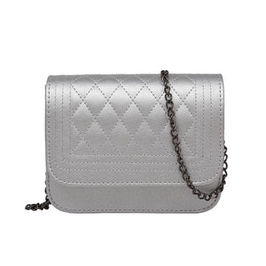 Elizabeth Designer Classy Crossbody Quilted Pleather Chain Flap Shoulder Purse Bag in Silver - www.GlamantiBeauty.com