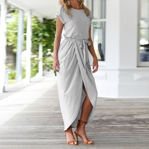 Causal Summer Outfit Ideas for Vacation for Women - Long T-Shirt Drape Maxi Dress in Navy Blue, Green, Grey - www.GlamantiBeauty.con #dresses #outfits