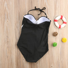 Mel Structured Black & White Color Block Monokini One Piece Swimsuit