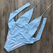 Cute Bow Tie Up One Piece Swimsuit Baby Blue Monokini for Teens for Women Beach Outfit Ideas - www.GlamantiBeauty.com #swimwear