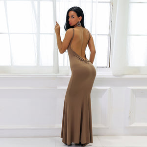 Hot Brown Tight Long Prom Dresses - Low Cut Ruched Backless Deep V Neck Plunge Mermaid Gown Simple Maxi Dress for Graduation Homecoming Cocktail Evening Party  - Vestidos de baile largos ceñidos - www.GlamantiBeauty.com #promdresses
