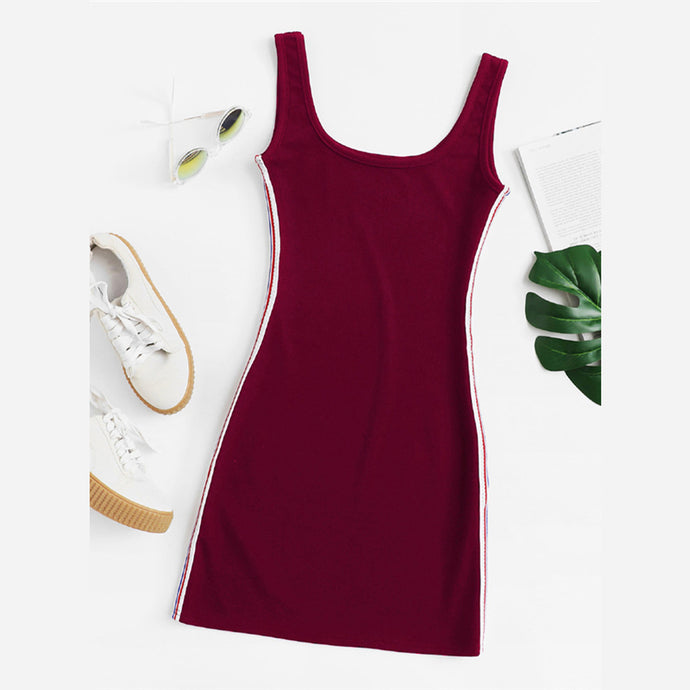 Casual Sporty Mini Dress Summer Outfit Ideas for Teens for Women in Burgundy - www.MyBodiArt.com