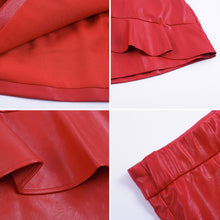 Red Leather Ruffle Zipper High Waisted Mini Skirt - www.GlamantiBeauty.com