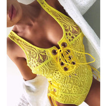 Cute Beach Outfit Ideas Lace Up Crotchet One Piece Monokini Swimsuit Bathing Suit Cheeky for Women for Teens Girls - traje de baño de encaje lindo para mujeres o niñas adolescentes - www.GlamantiBeauty.com #swimwear