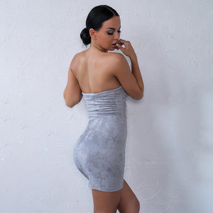 Hot Baddie Summer Party Outfit Ideas for Women Suede Dress Spring Strapless Tight Fitted Mini Short Dresses for Teens for Clubbing What to Wear Avaliable in Red, Blue, Nude, Grey - www.GlamantiBeauty.com #dresses