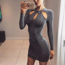 Cute Christmas New Years Outfit Ideas for Women for Teens Glitter Grey Summer Spring Black Keyhole Cut Out Cocktail Party Long Sleeve Mini Short Dresses 2018 - www.GlamantiBeauty.com