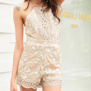 Cute Classy Beach Boho Spring Summer Outfit Ideas for Teen Girls for Women - Gold Floral Flower Lace Chiffon Romper Dress -  lindas ideas de trajes de verano para mujeres - www.GlamantiBeauty.com