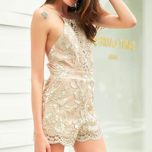Liliana Halter Neck Floral Gold Strappy Backless Chiffon Romper