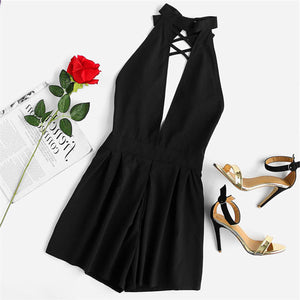 Dressy Romper Summer Outfit Ideas for Women - Classy Black Playsuit with Lace Up Choker & Halter Neck - www.GlamantiBeauty.com #outfits