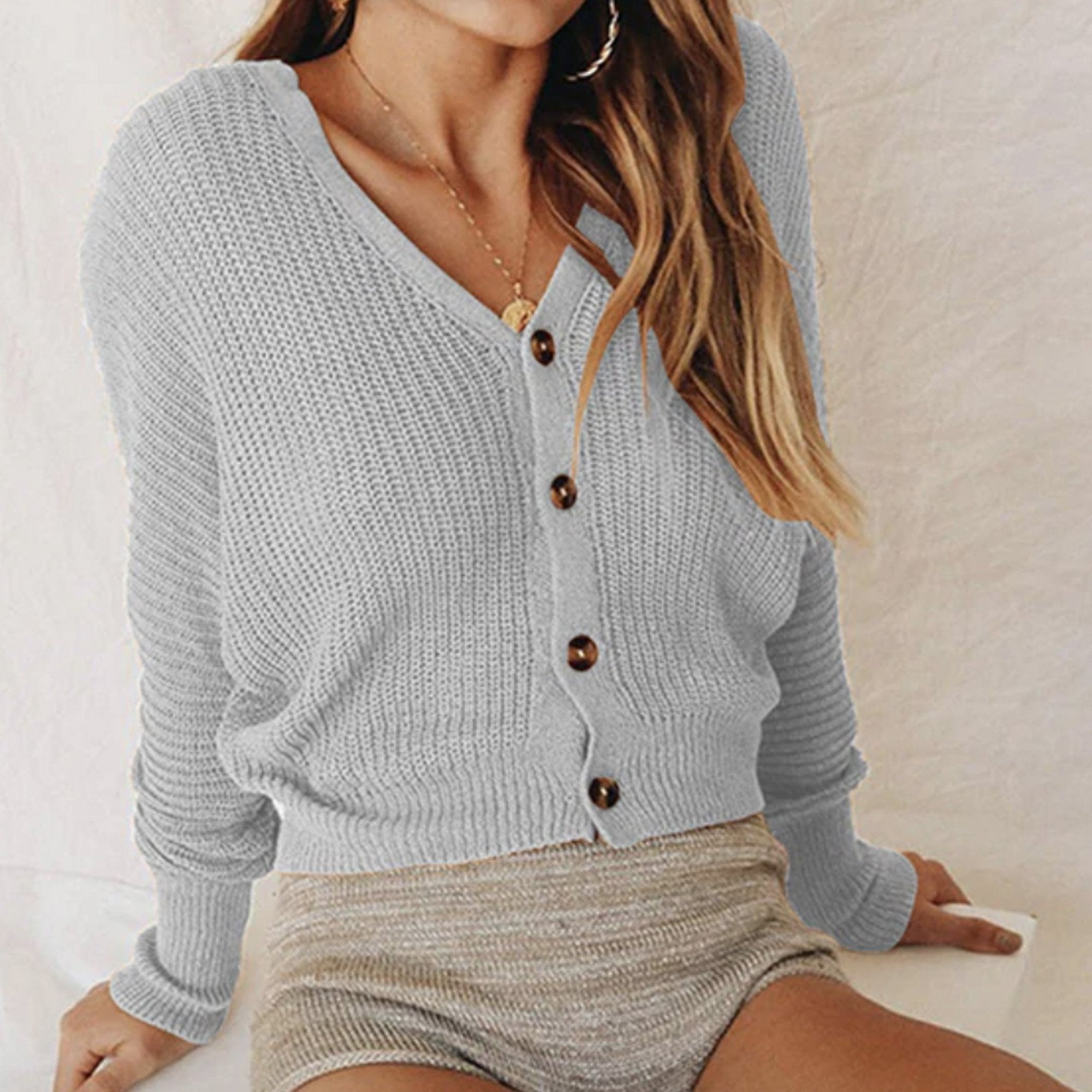 1b3a0c115086 ... Casual Cute Comfy Fall Outfit Ideas for Women - Cropped Ribbed Knit Sweater  Button Up Cardigan ...