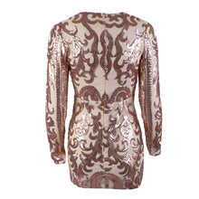Camilia Floral Sequin Asymmetrical V Neck Long Sleeve Bodycon Mini Dress in Rose Gold - www.GlamantiBeauty.com