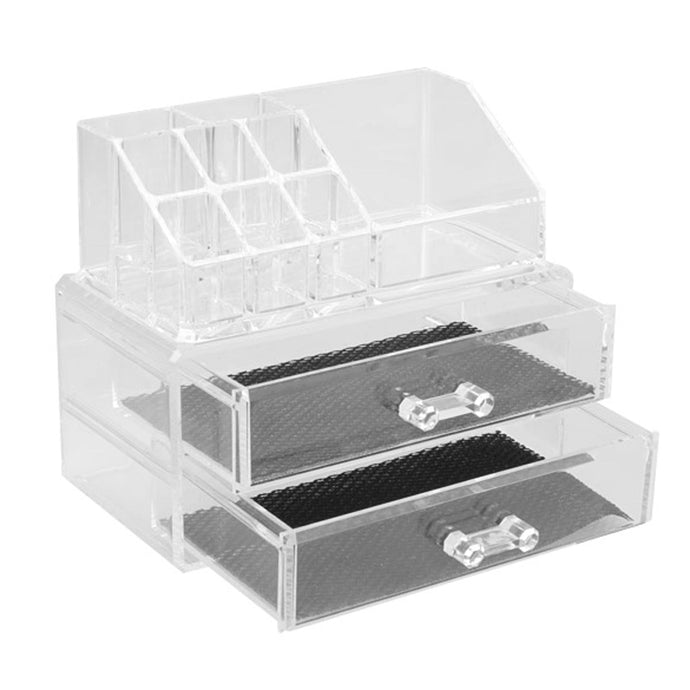 Acrylic Crystal Clear 2 Drawer Makeup Cosmetics Organizer Toiletries Home Organization - www.GlamantiBeauty.com