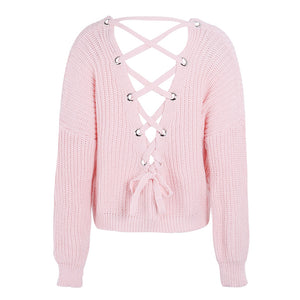 Cute Outfit Ideas for School Betsy Criss Cross Back Lace Up Oversized Sweater - www.GlamantiBeauty.com - Baby Pink