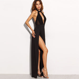 Classy Evening Dress Outfit Ideas for Cocktail Party - Flowy Long Black Choker Halter Neck Backless Dress - vestidos de fiesta con clase, ideas para trajes de fiesta -  www.GlamantiBeauty.com
