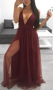 Beautiful Prom Dresses Gown - Trending Long Chiffon Backless V Neck Dress with Slit 2018 for Homecoming Graduation Evening Party in Blue, Burgundy Red, Black - Hermoso vestido de fiesta vestido - www.GlamantiBeauty.com #promdresses