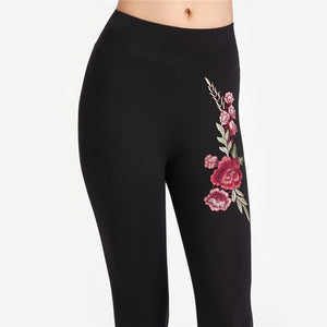 Casual Baddie Outfit Ideas for Women for School College - Rose Embroidery Black Leggings - www.GlamantiBeauty.com
