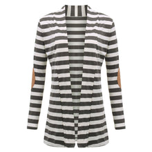 Ziggy Striped Gray and White Sweater Cardigan with Brown Elbow Suede Patchwork - www.GlamantiBeauty.com