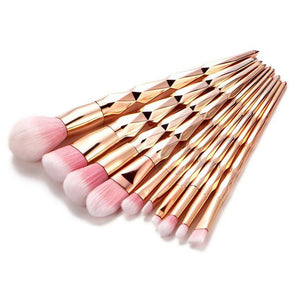 Makeup Brush Set 10 pieces - Rose Gold Unicorn Mermaid - Eyeshadow Contour Face - www.GlamantiBeauty.com