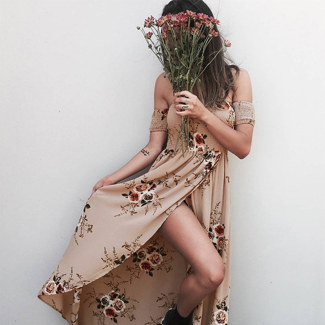 Boho Fashion Summer Beach Outfit Ideas for Women - Casual Vintage Floral Print Maxi Long Drape Dress - www.GlamantiBeauty.com #dresses #outfits