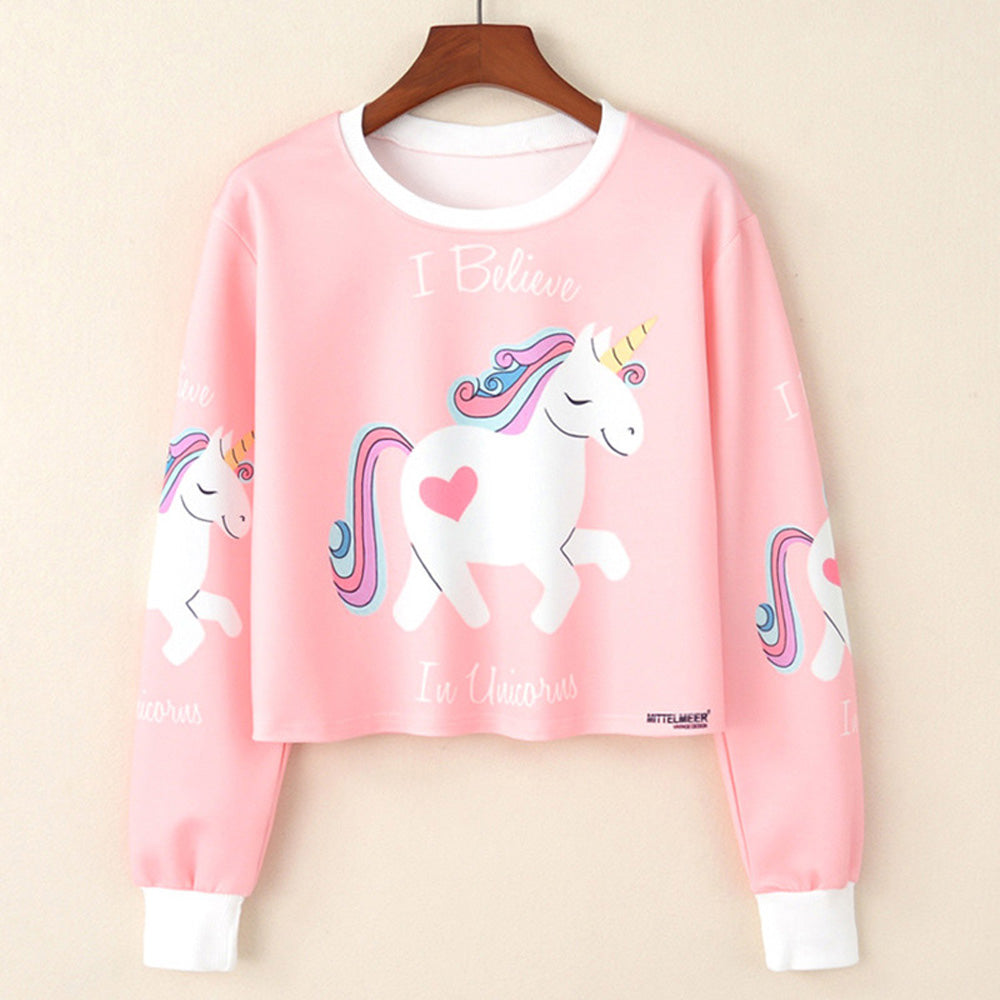 Cute Outfit Ideas for Teenagers for School - Twinkle Unicorn Heart Pink Long Sleeve Crop Top Pullover Shirt - www.GlamantiBeauty.com